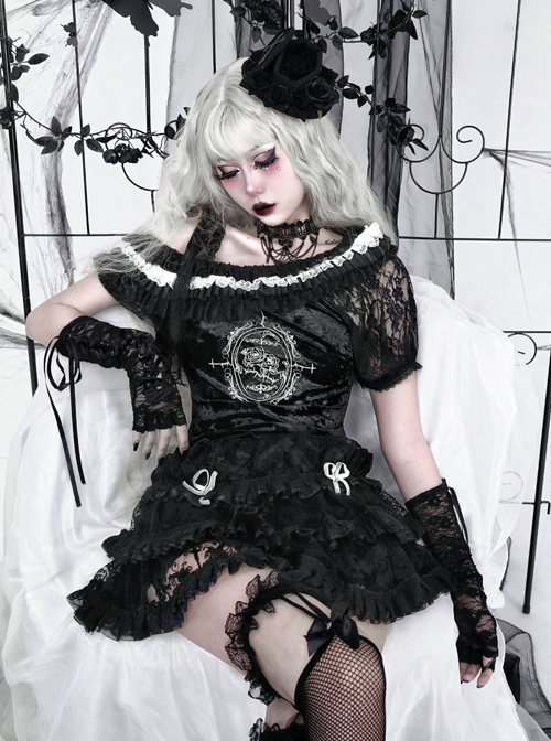 Pray Night Series Black Off-shoulder Lace-up Lace Embroidery Diamond Velvet Short Sleeve Gothic Short Top