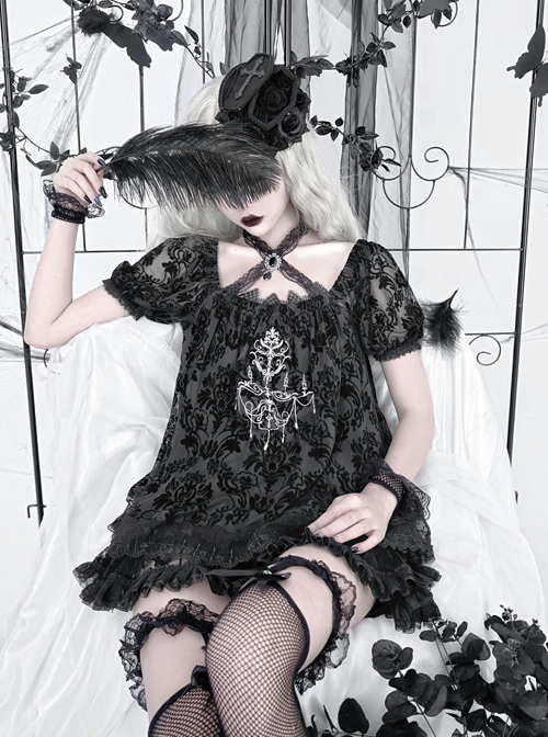 Pray Night Series Black Flocked Dark Textured Embroidery Lace Lace-up Gothic Short Sleeve Top