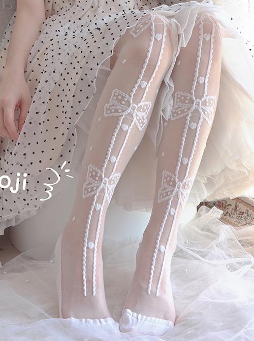 Annie's Gift Series Bowknot Pattern Summer Glass-silk Ultra-Thin Sweet Lolita Stockings