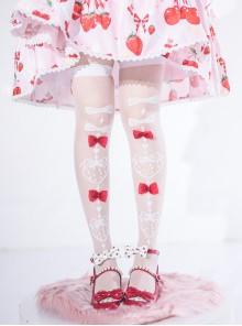 Strawberry Bow Tie Series Summer Bowknot Sweet Lolita Glass-silk Ultra-Thin Stockings