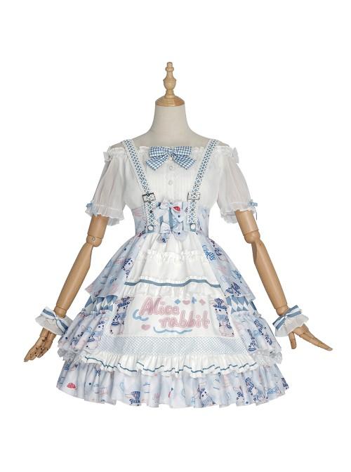 Alice Bunny Series SK Navy Style Sweet Lolita Light Blue Skirt And White Shirt Set