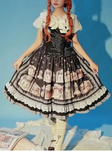 Box Theater Series JSK Printing Embroidery Normal Waist Classic Lolita Sling Dress