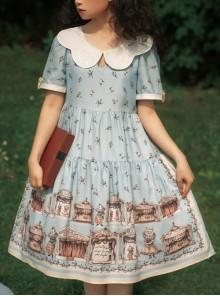 Box Theater Series OP Classical Embroidery A-line Hem Classic Lolita Short Sleeve Dress