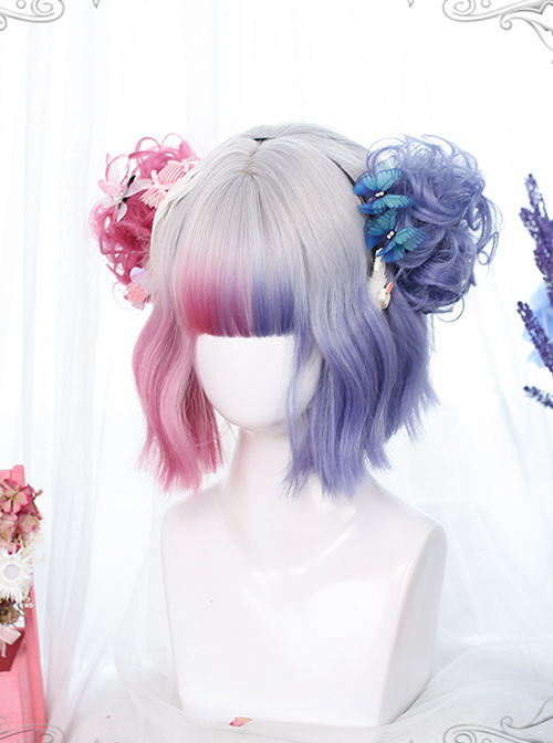 Multicolor Gradient Short Curly Wig Sweet Lolita Wigs With Wig Clips