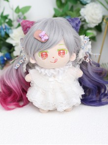 Cotton Doll 20cm Cute Lolita Accessories Little Butterfly Multicolor Gradient Curly Doll Wigs