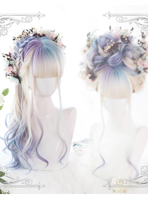 Aurora Color Multicolor Gradient Long Curly Wig Classic Lolita Wigs