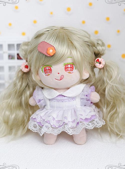 Cotton Doll 20cm Cute Doll Lolita Accessories Light Green Curly Doll Wig