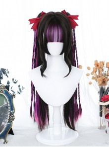 Highlighted Purple Wig Gothic Lolita Wigs With Straight Double Ponytail Clips