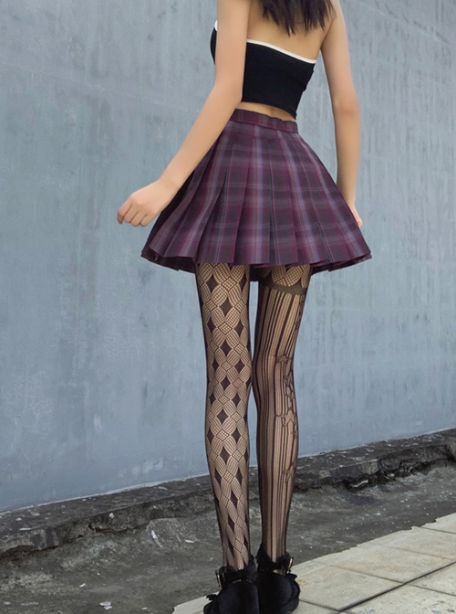 Spring Summer Hollowed Out Fishnet Silk Stockings Gothic Lolita Pantyhose