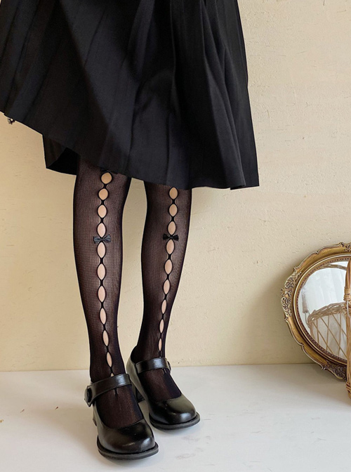 Summer Fishnet Socks Hollow Out Bowknot Pure Color Classic Lolita Pantyhose