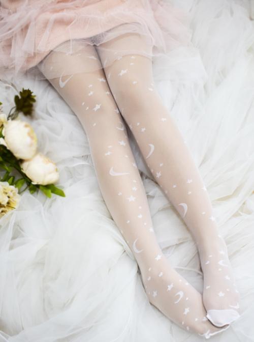 Summer White Starry Sky Jacquard Glass Filament Printing Sweet Lolita Pantyhose