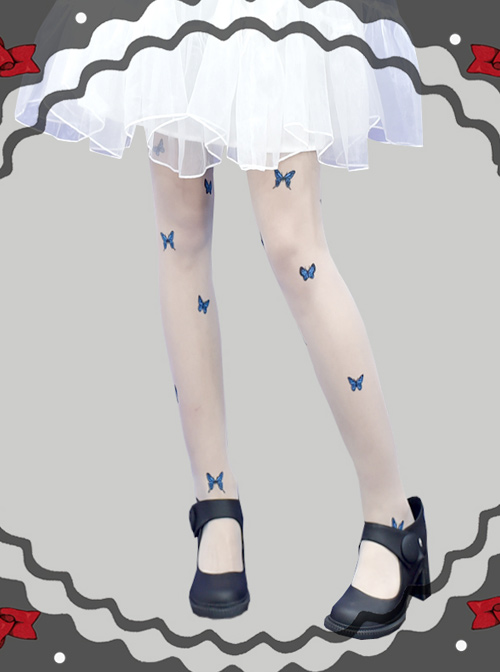 Summer Thin Blue Butterfly Printing Retro Gothic Lolita Pantyhose