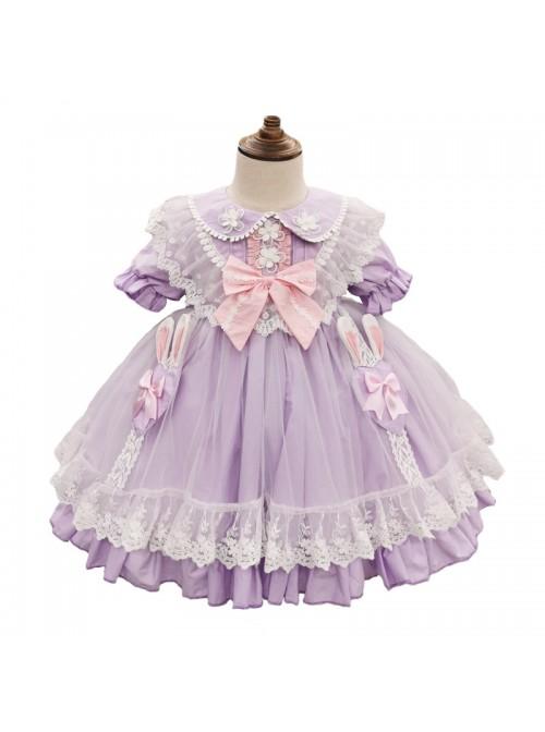Rabbit Ears Hem Decoration Light Purple Doll Collar Children Sweet Lolita Kids Short Sleeve Dress