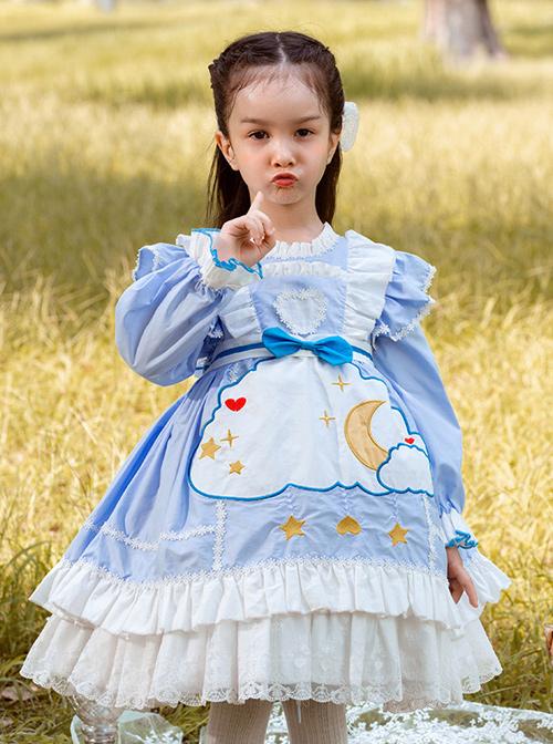 Cartoon Stars Moon Pattern Children Sweet Lolita Kids Blue Long Sleeve Dress