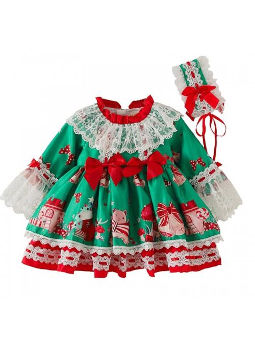 Christmas Party Printing Children Sweet Lolita Kids Green Long Sleeve Dress