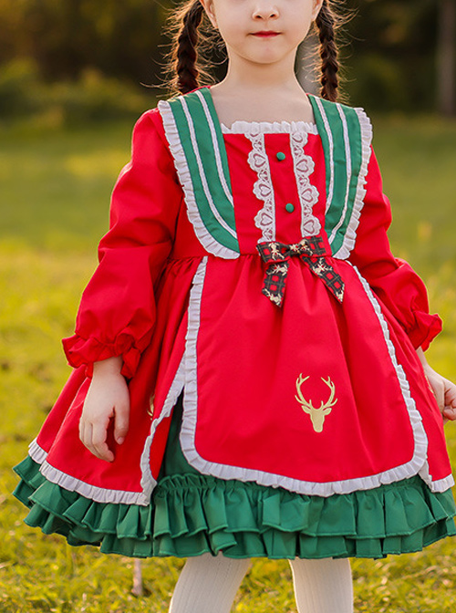Winter Red And Green Christmas Style Bowknot Children Sweet Lolita Kids Thicken Red Long Sleeve Dress