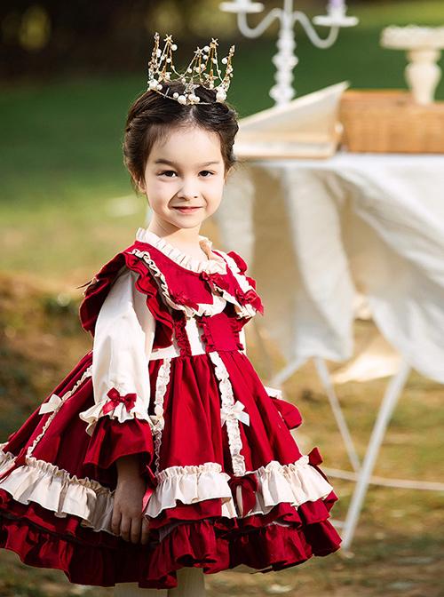 Autumn Winter Bowknot Ruffle Delicate Children Sweet Lolita Kids Wine Red Long Sleeve Dress