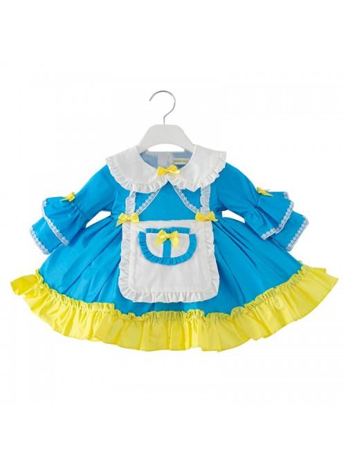 Doll Collar Alice Style Ruffle Hem Children Sweet Lolita Kids Blue Long Sleeve Dress