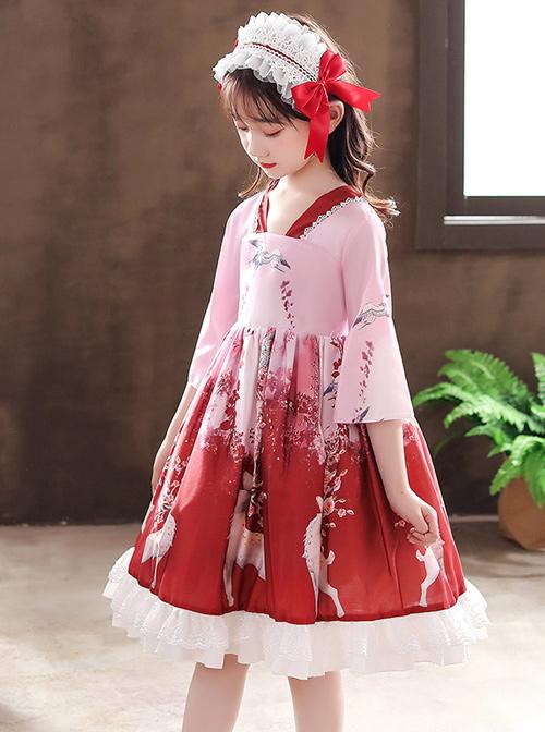 Elegant Chinese Style Classical Printing Children Classic Lolita Kids Half Sleeve Dress