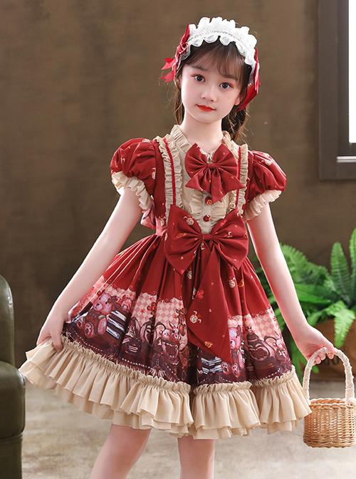 Cute Little Bear Printing Bowknot Children Sweet Lolita Wine Red Kids Short Sleeve Dress