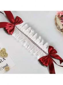 Silk Ribbon Bowknot White Lace Children Lolita Headband