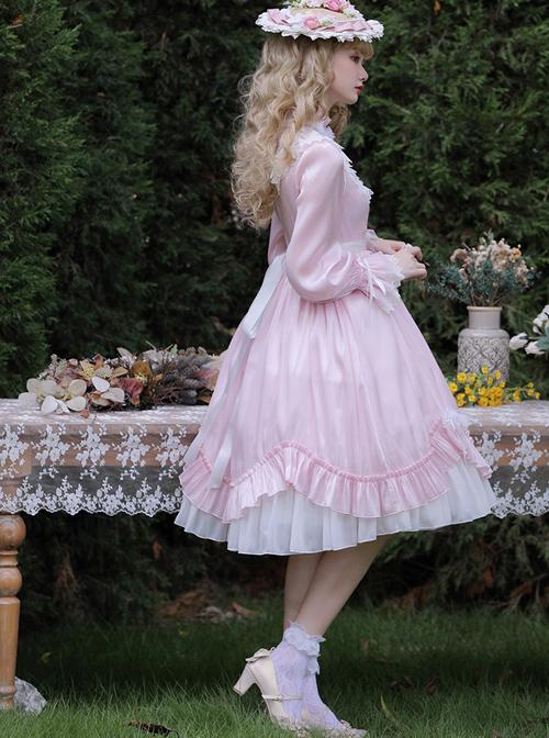 Elegant Pure Color Princess Streamer Yarn Simple Fairy Classic Lolita Long Sleeve Dress