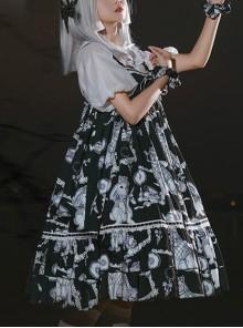 Wolf Detective Series JSK Printing Black Sweet Lolita Sling Dress