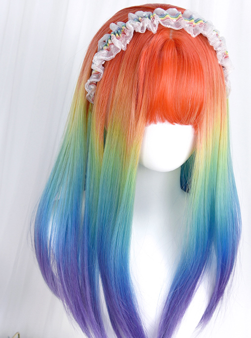 Rainbow Color Gradient Long Straight Curly Wig Sweet Lolita Wigs