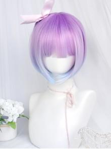 Dreamy Gradient Blue-purple Short Straight Wig Sweet Lolita Wigs