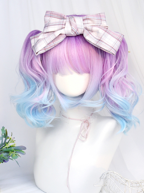 Dreamy Gradient Blue-purple Water Wave Curly Double Ponytail Wig Sweet Lolita Wigs
