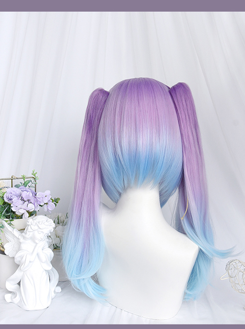 Dreamy Gradient Blue-purple Long Slightly Curly Double Ponytail Wig Sweet Lolita Wigs