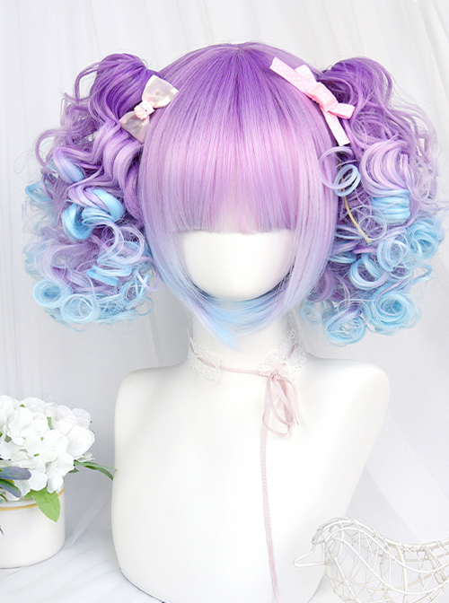 Dreamy Gradient Blue-purple Cute Doll Curly Double Ponytail Wig Sweet Lolita Wigs