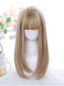 Flaxen Medium Length Straight Wig Classic Lolita Natural Daily Wigs