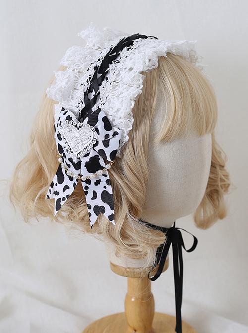 White Lace Heart Embroidery Black White Milk Cow Pattern Sweet Lolita Headband