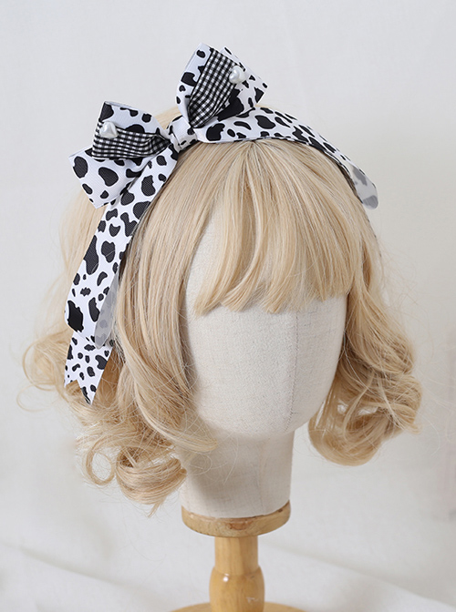 Black White Milk Cow Pattern Side Bowknot Sweet Lolita Hair Hoop