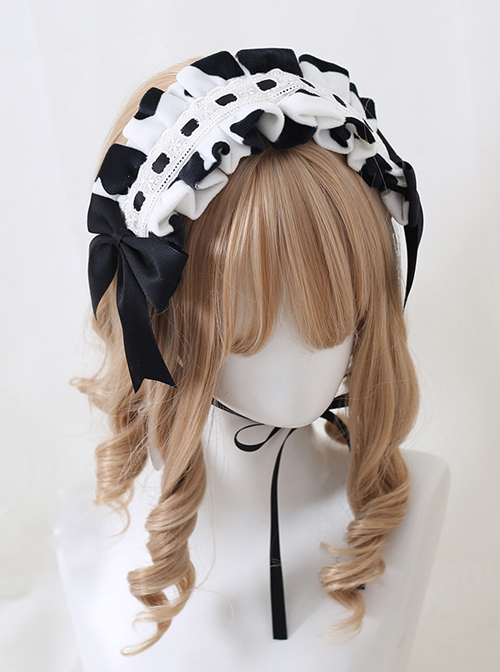 Bowknot Black White Milk Cow Sweet Lolita Short Plush Headband