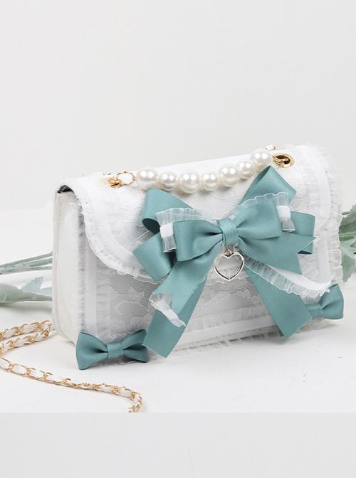 Ruffle Lace Handbag Bowknot Pearl Sweet Lolita Shoulder Bag