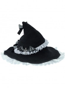 Sweet Hot Girl Bowknot White Lace Halloween Gothic Lolita Black Witch Hat