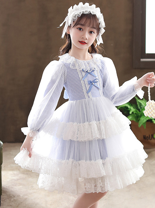 Bowknot White Tulle Lace Children Sweet Lolita Kids Plaid Long Sleeve Dress