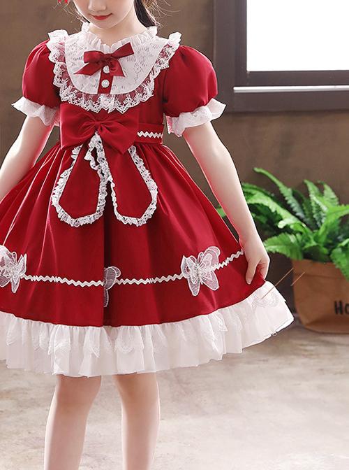Pure Color Big Bowknot White Lace Children Sweet Lolita Kids Short Sleeve Dress