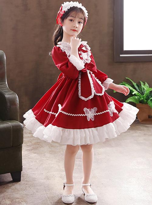 White Lace Pure Color Big Bowknot Children Sweet Lolita Kids Long Sleeve Dress