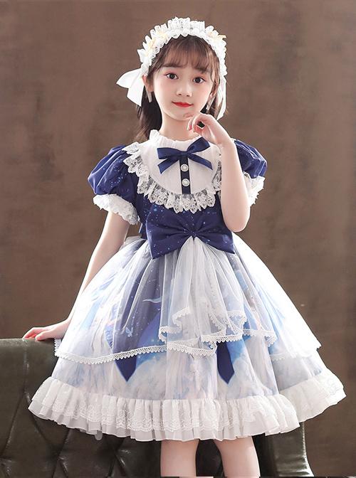 Ruffle Round Collar Bowknot Children Sweet Lolita Puff Sleeve Short Sleeve Dress