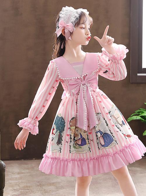 Retro Navy Style Collar Cute Bunny Printing Children Sweet Lolita Long Sleeve Dress