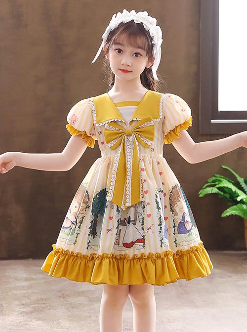 Cute Bunny Printing Retro Navy Style Collar Children Sweet Lolita Short Sleeve Dress