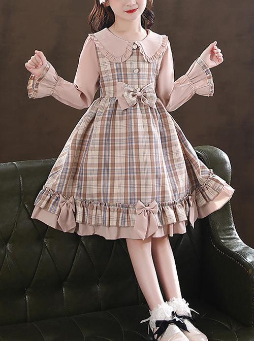 Doll Collar Bowknot Children School Lolita Kids Plaid Long Sleeve Dress