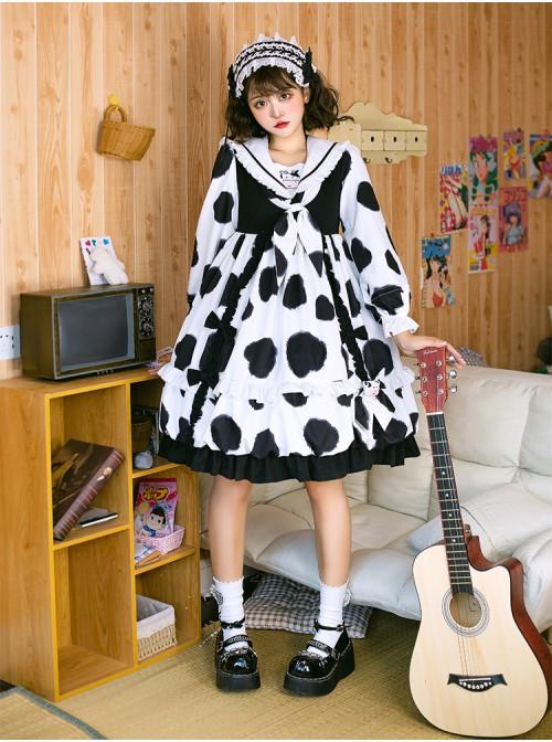 Ranch Story Series OP Cute Cat Paw Printing Sweet Lolita Multicolor Long Sleeve Dress