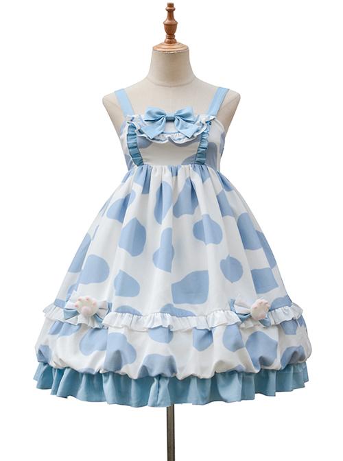 Ranch Story Series JSK Cute Cat Paw Printing Sweet Lolita Multicolor Sling Dress