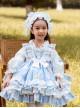 Autumn Winter Cute Doughnut Little Bear Printing Children Sweet Lolita Kids Blue Long Sleeve Dress