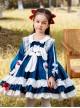 Doll Collar Lovely Long Ear Rabbit Bowknot Children Sweet Lolita Kids Blue Velour Long Sleeve Dress