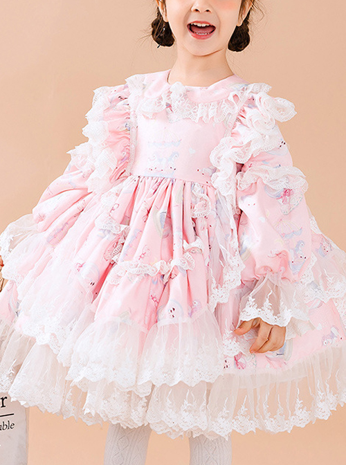 White Lace Cute Carousel Printing Children Sweet Lolita Princess Dress Kids Pink Long Sleeve Dress